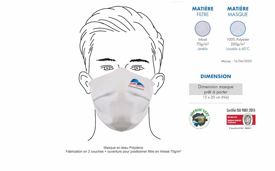 Personnalisation de masques REUTILISABLES, lavables : un geste pour la planète !